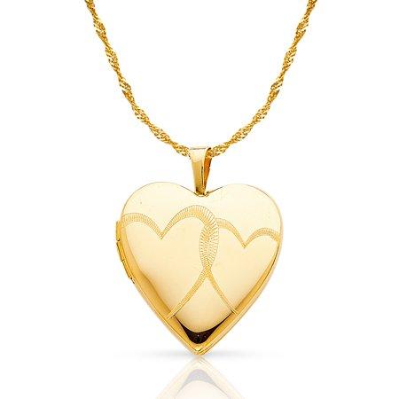 468ffa5080 Ioka - 14K Yellow Gold Heart Locket Charm Pendant with 1.2mm Singapore  Chain Necklace - 24