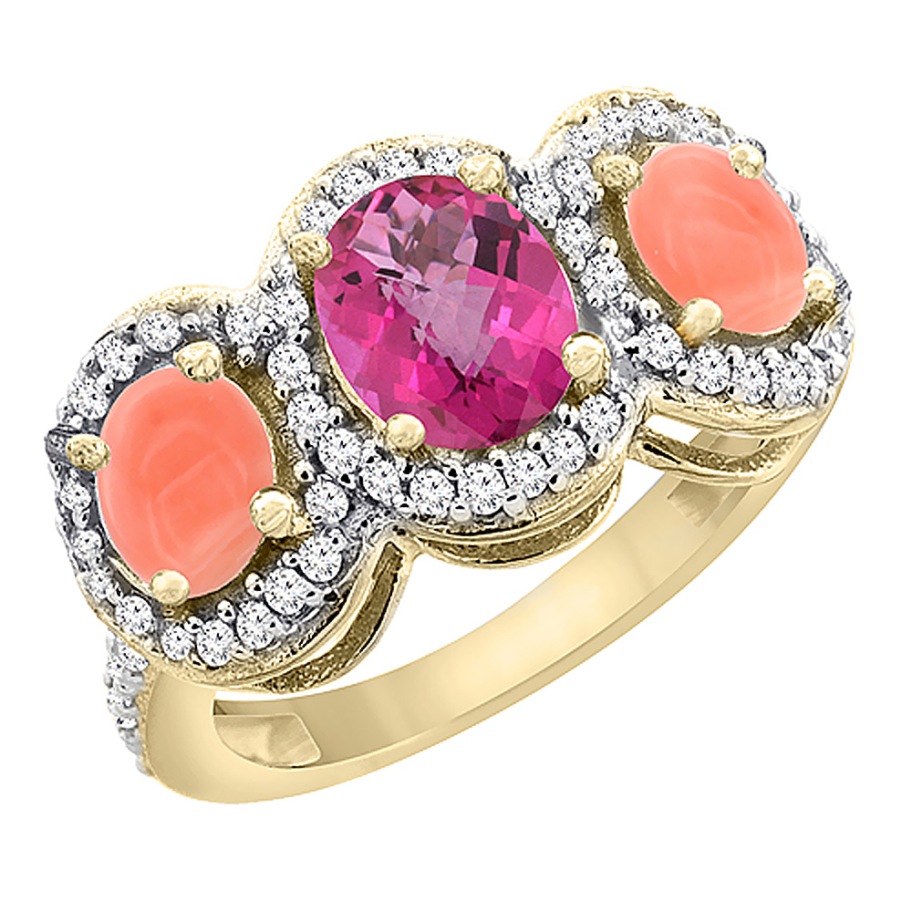 14K Yellow Gold Natural Pink Sapphire & Coral 3-Stone Ring Oval Diamond Accent, size 5 by Gabriella Gold
