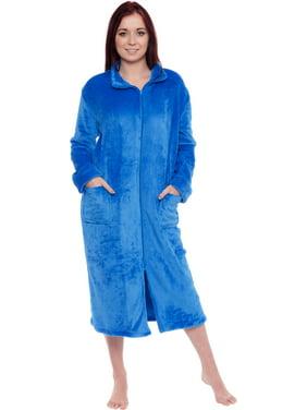 Silver Lilly Women's Long Fleece Zip Up Front Robe Housecoat