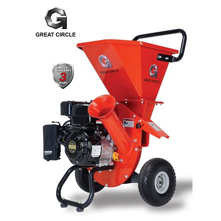 GreatCircle 6.5 HP Heavy Duty 212cc Gas Powered 3 IN 1 Pro Wood Chipper Shredder for Lawn and Garden Outdoor with 3