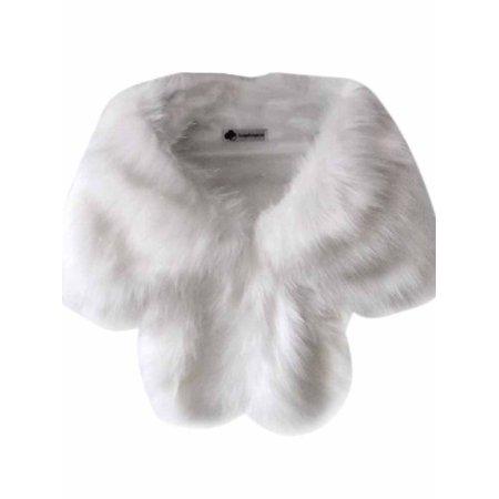 Women Wedding Faux Fur Shawl Winter Shaggy Shrug Scarf - Scary White Dress