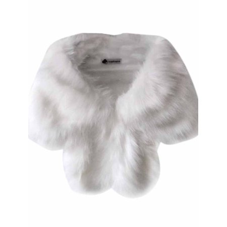 Women Wedding Faux Fur Shawl Winter Shaggy Shrug Scarf Outwear ()
