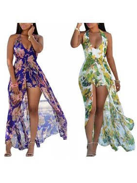 a3fa4d2d0ee Product Image Women Fashion Flower Print Halter Neck Maxi Romper. Product  Variants Selector. Purple