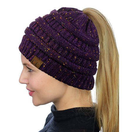 C.C BeanieTail Soft Stretch Cable Knit Messy High Bun Ponytail Beanie Hat 3386431e25d