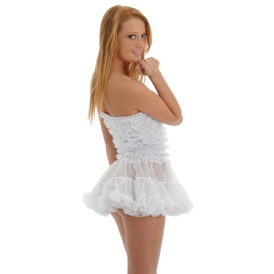 780171a85a0 Womens White Chemise Ruffle G-String Panty 2 Piece Bridal Lingerie Set
