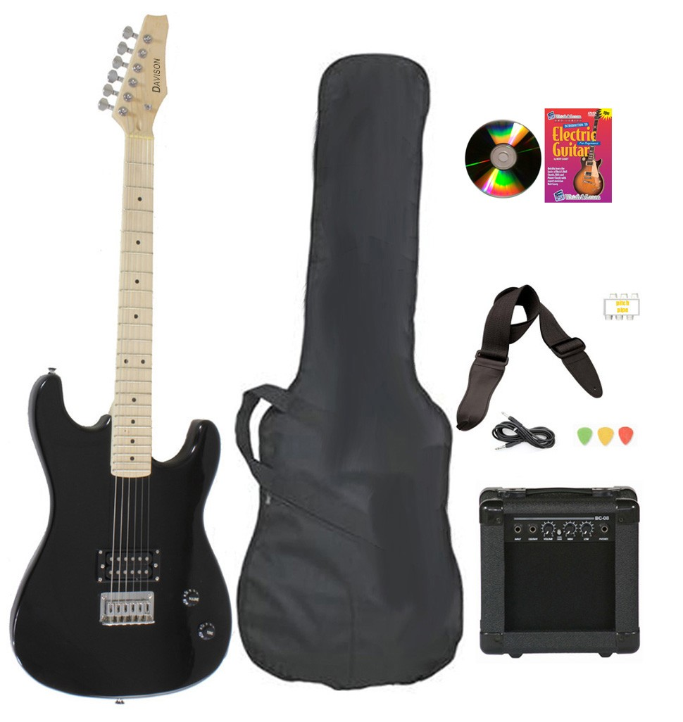 Davison Guitars Electric Guitar Black Full Size With Amp Case Cord Picks And DVD by