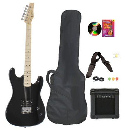 Music Man Guitar Amps - Davison Guitars Electric Guitar Black Full Size With Amp Case Cord Picks And DVD