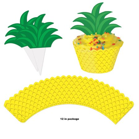The Party Aisle Pineapple Cupcake Wrapper 12 Piece Disposable Decoration Kit (Set of 4)