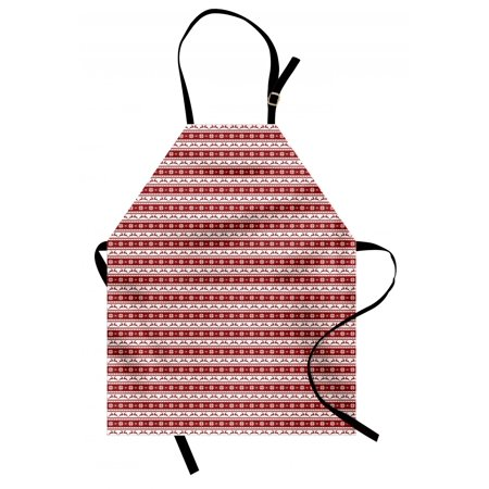 Christmas Apron Norwegian Scandinavian Traditional Vintage Style Borders Reindeer Striped Flower, Unisex Kitchen Bib Apron with Adjustable Neck for Cooking Baking Gardening, Red White, by Ambesonne