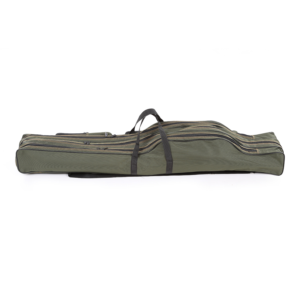 1PC Fishing Bag Fishing Rod Carrier Travel Case Pole Tools Storage Bag Double Layer Portable Canvas for Fishing Gear Tackle Camouflage