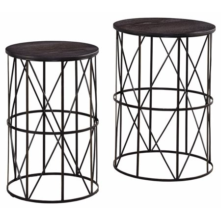 Ashley Furniture Signature Design   Marxim End Tables   Traditional Vintage Style   Round   Dark Brown