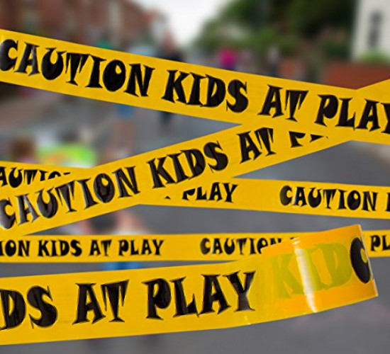 """TAPIX 3"""" x 300' Caution Kids At Play Caution Tape • Bright Yellow & Bold Black Print for High Visibility • Tear Resistant Design • Ideal for Construction/Crime Play Time."""