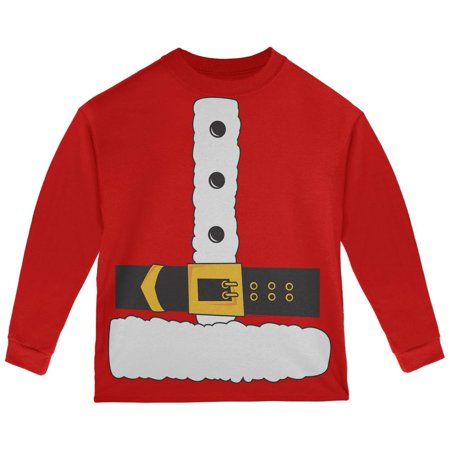 Santa Claus Costume Red Toddler Long Sleeve T-Shirt - Santa Uniform