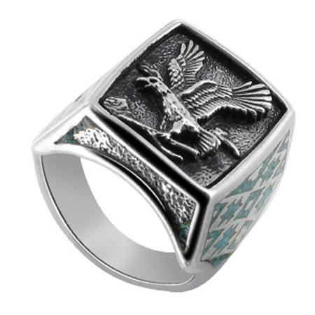Men's 925 Sterling Silver Turquoise Gemstone Southwestern Style Eagle Ring (Sterling Silver Turquoise Gemstone)