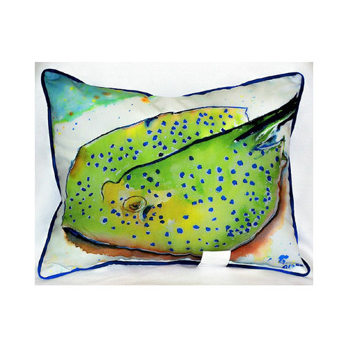 Betsy Drake Interiors Coastal Stingray Indoor/Outdoor Lumbar Pillow
