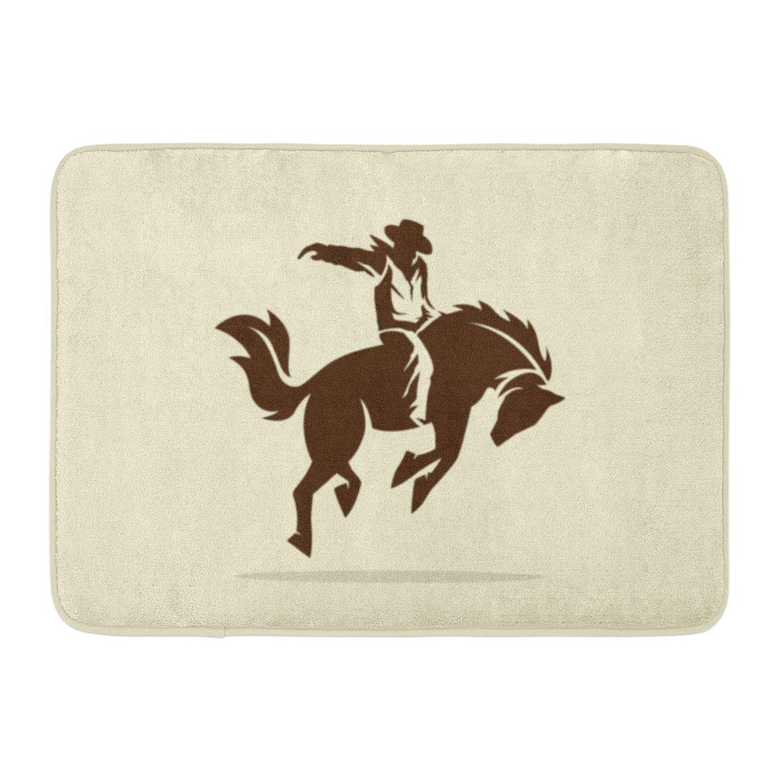 Godpok Silhouette Black Rodeo Of Cowboy Riding Wild Horse Bronco Bucking Rug Doormat Bath Mat 23 6x15 7 Inch Walmart Com Walmart Com