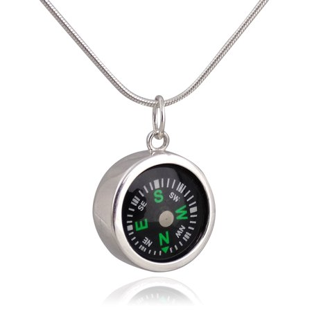 - Sterling Silver Compass Charm Necklace, 18