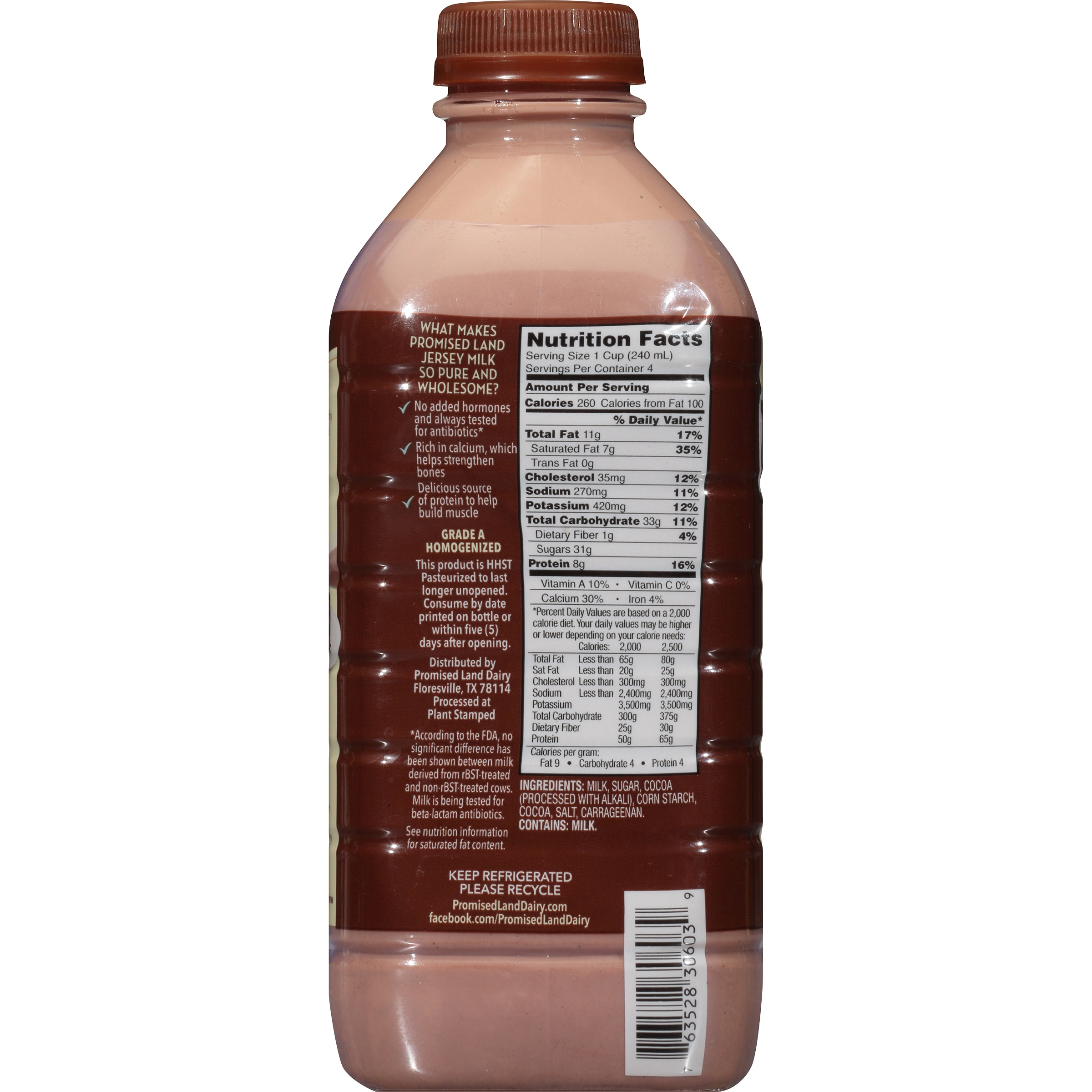 Promised Land Dairy Midnight Chocolate Milk 1 qt. Bottle ...
