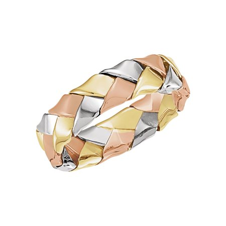 14K Tri color Gold Woven Band Size 9