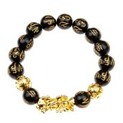 AkoaDa Luck Feng Shui Black Obsidian Wealth Beads Pi Xiu Charm Bracelets Jewelry Gifts