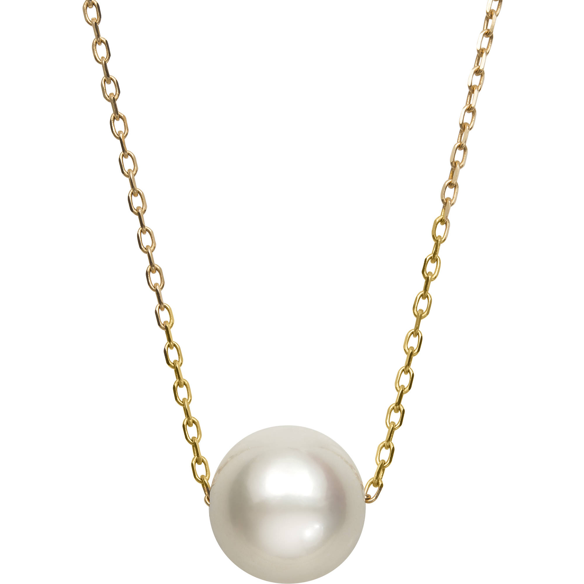 "8.5-9.5mm Single Cultured Freshwater Pearl 14kt Yellow Gold Necklace, 18"" by China Pearl"
