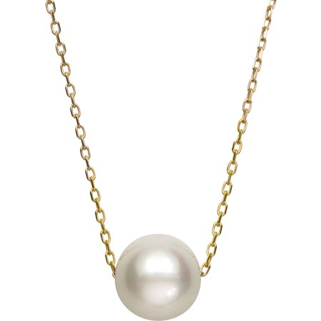 14k Yellow Gold Single Floating White Cultured Freshwater Pearl Chain Necklace, (Cultured Pearl Solitaire Necklace)