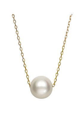 14k Yellow Gold Single Floating White Cultured Freshwater Pearl Chain Necklace 18
