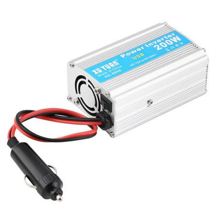 WALFRONT Silver 200W DC 12V to AC 110V Car Power Inverter Converter USB Charger Adapter,Car Power Inverter,12V to 110V Power Inverter - image 3 of 7