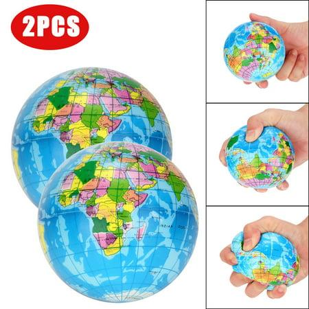 2PCS Stress Relief World Map Jumbo Ball Atlas Globe Palm Ball Planet Earth Ball](Stress Balls With Logo)