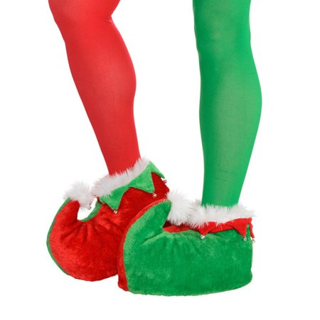 Deluxe Adult Plush Elf Shoes One Size with Bells Deluxe Elf Shoes