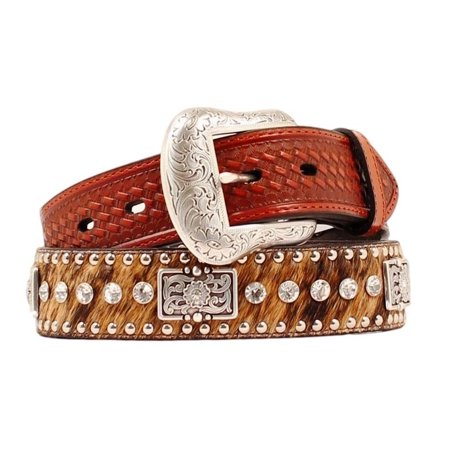 Nocona Western Belt Mens Leather Rhinestones Hair Brown N2442302 (Western Mens Belts Leather)
