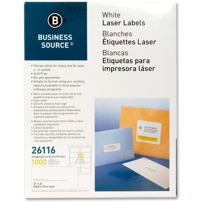 Business Source Mailing Labels, Shipping, Laser, 2''x4'', 1000 per Pack, White