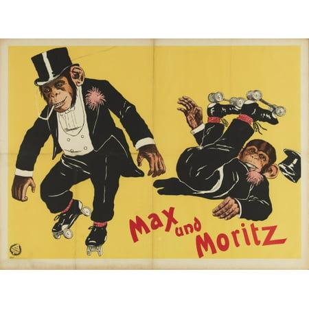 Skiing Monkeys (Max Und Moritz Roller Skating Monkeys Canvas Art -  (24 x 36) )