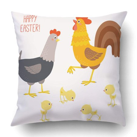ARTJIA Happy Chicken Family Funny Hen And Cock With Their Chicks Cartoon Clipart 10 Pillowcase Cover Cushion 18x18 - Happy Halloween Funny Clipart