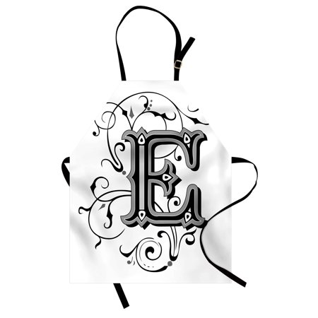 Swirl Alphabet (Letter E Apron Capitalized E Alphabet Geometrical Design Lines Swirls Dark Color Spectrum, Unisex Kitchen Bib Apron with Adjustable Neck for Cooking Baking Gardening, Black Grey White, by)