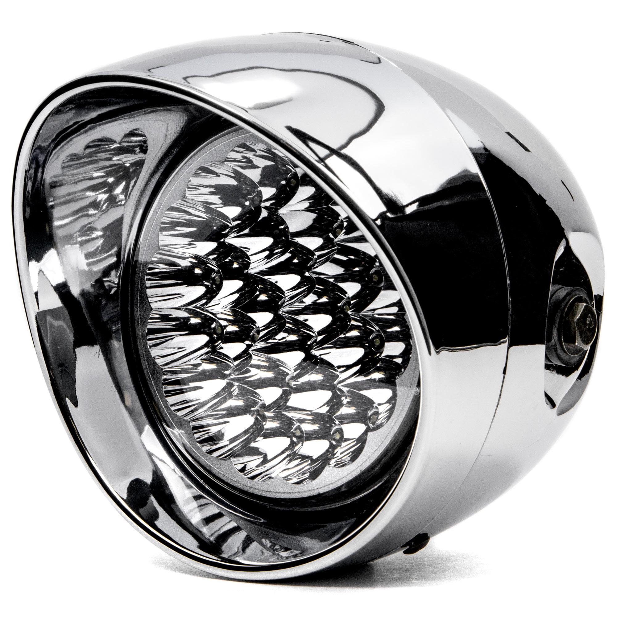 """Krator 7"""" Chrome LED Motorcycle Headlight w/ Side Mounting Running Light High / Lo Beam for Harley Davidson XL 883 Hugger Sportster - image 5 de 5"""