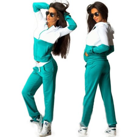 (2Pcs Women Tracksuit Hoodie Sweatshirt Pants Sets Running Sport Wear Casual Suit)