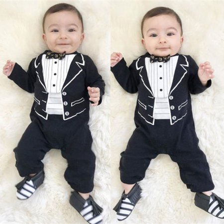Infant Newborn Baby Boy Gentleman Suits Jumpsuit Romper Bodysuit Party Tuxedo - Newborn Bunting Suit