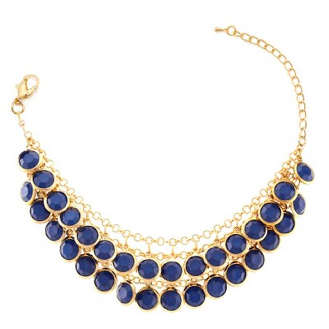 C Jewelry Gold-Tone Navy 2 Row Acrylic Beads Bracelets