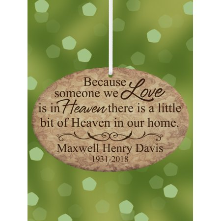 Personalized A Little Bit of Heaven Memorial Oval Christmas Ornament