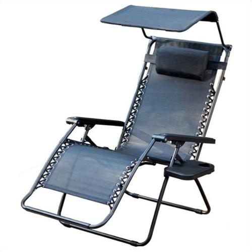 Jeco Oversized Zero Gravity Chair with Sunshade and Drink Tray in Black