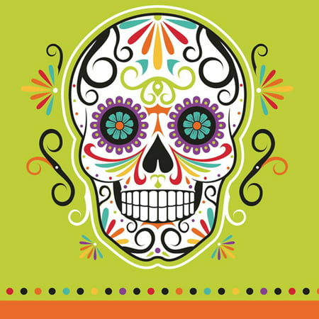 Halloween 'Sugar Skull Skelebrations' Small Napkins (16ct) (Halloween Sugar Skull Easy)