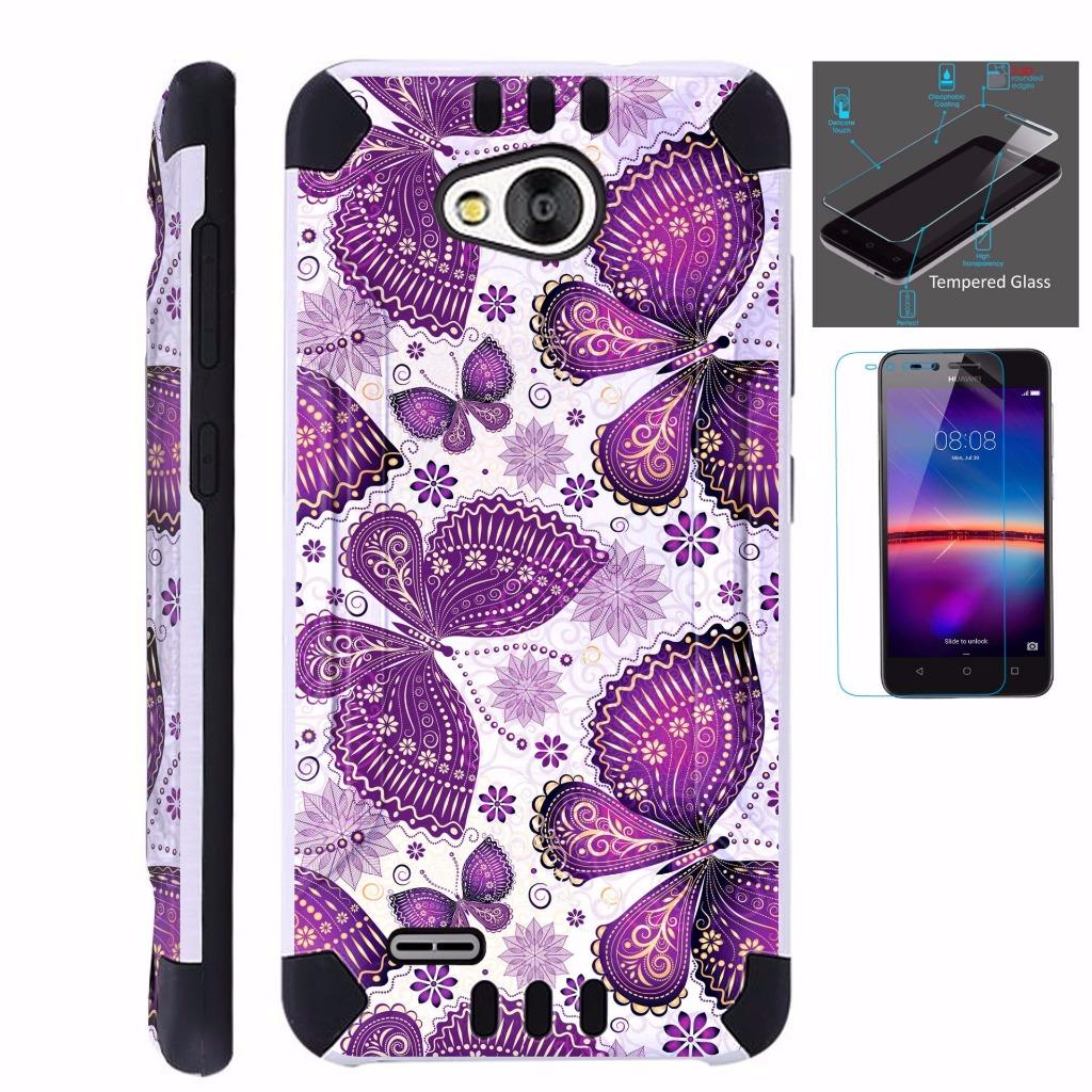 For ZTE Tempo N9131 Case / ZTE Majesty Pro LTE + Tempered Glass Slim Dual Layer Brushed Texture Armor Hybrid TPU KomBatGuard (Purple Butterfly)