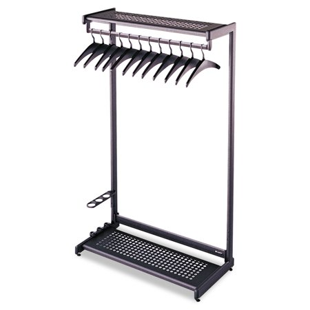 Quartet Single-Side, Garment Rack w/Two Shelves, Eight Hangers, Steel, 24