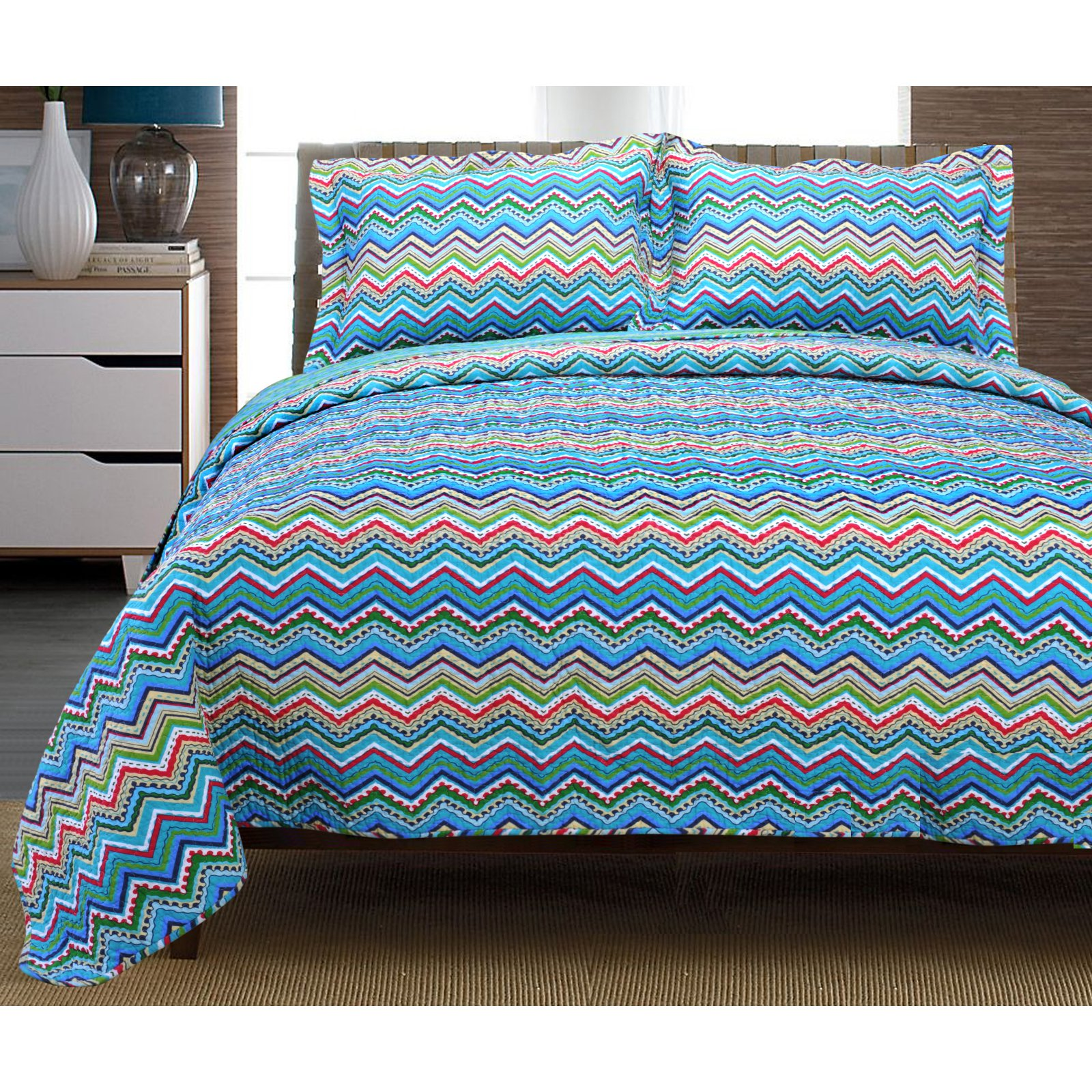 Impressions Games Superior Chevron 100% Cotton Quilt Set