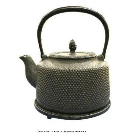 Black Hobnail Cast Iron Tea Kettle with Trivet, 50 -