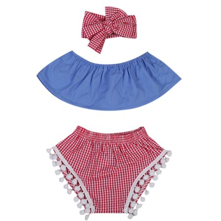 Two Piece Bloomers (StylesILove Infant Baby Girl Casual Blue Top with Pom Pom Bloomers and Matching Headband 3 pcs Sunsuit (100/12-18 Months))