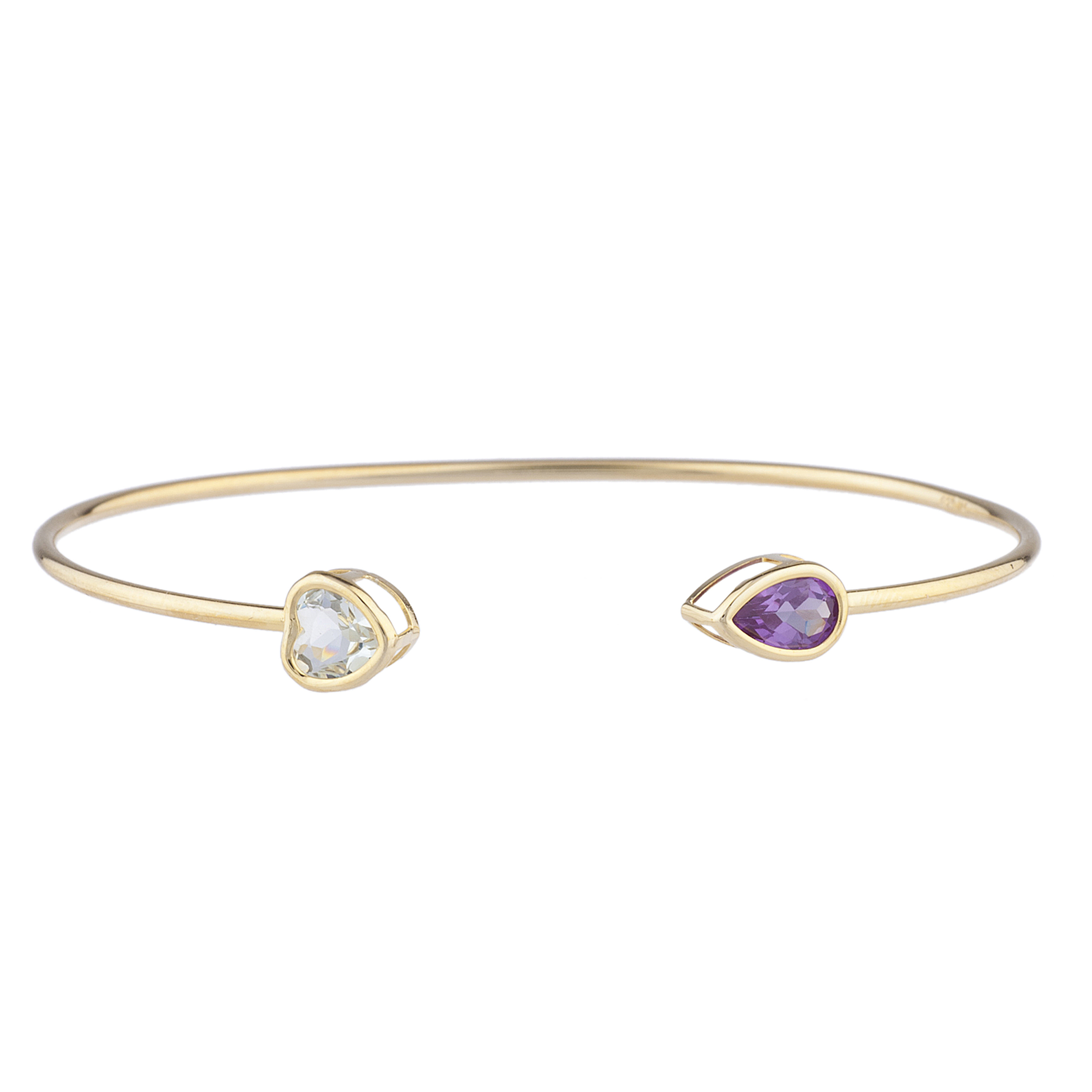 Genuine Aquamarine Heart & Alexandrite Pear Bezel Bangle Bracelet 14Kt Yellow Gold Plated Over .925 Sterling Silver by Elizabeth Jewelry Inc