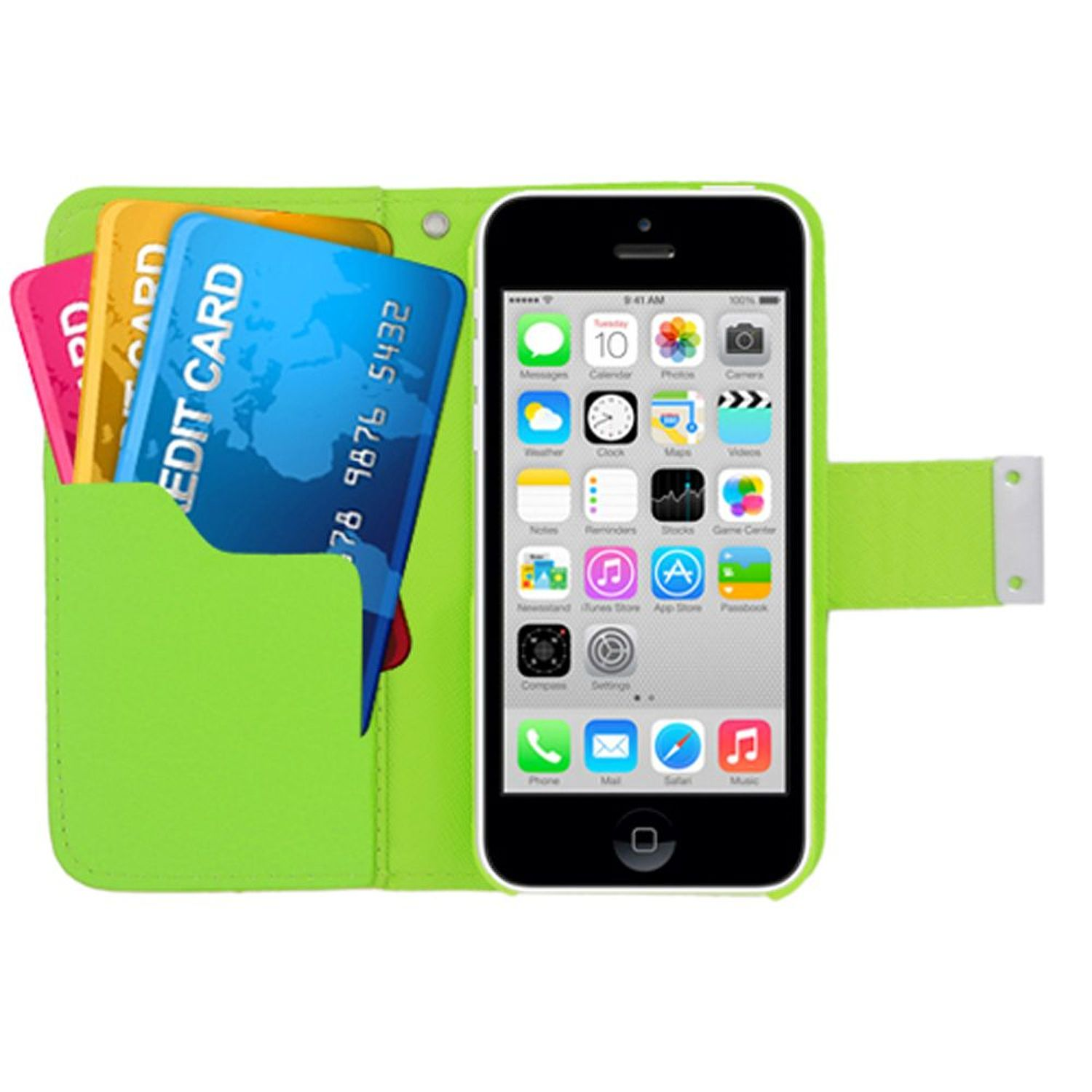 Insten Multicolor Folio Flip Leather [Card Holder Slot] Wallet Pouch Case Cover For Apple iPhone 5C, Green/Orange