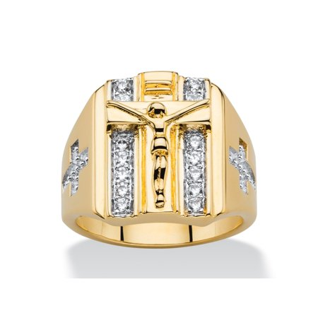 Men's .35 TCW Round Cubic Zirconia Double Row Crucifix and Cross Ring 14k Gold-Plated